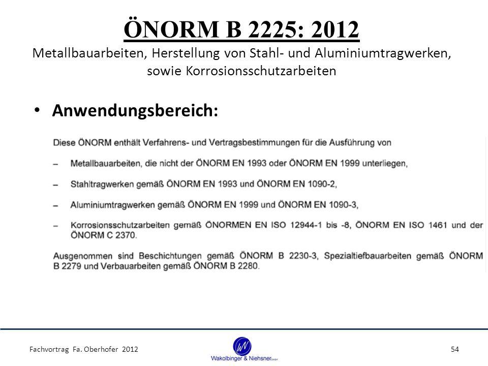 ÖNORM B 2225: 2012 Metallbauarbeiten, Herstellung von Stahl- und Aluminiumtragwerken, sowie Korrosionsschutzarbeiten