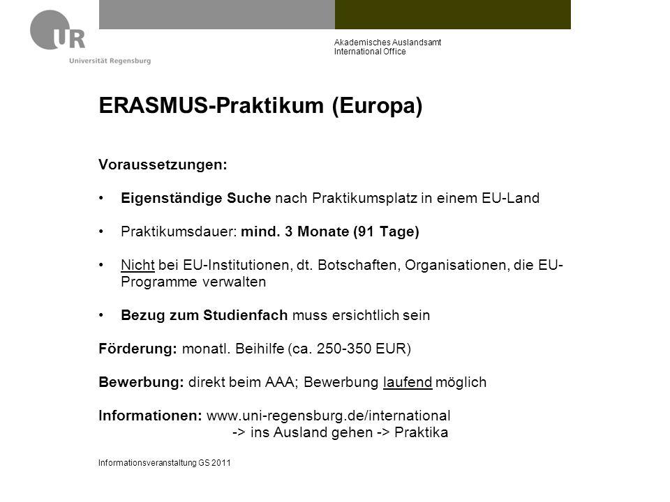 ERASMUS-Praktikum (Europa)
