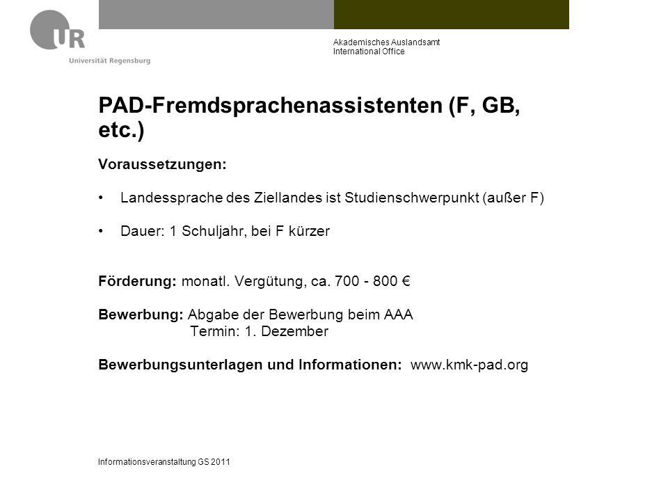 PAD-Fremdsprachenassistenten (F, GB, etc.)