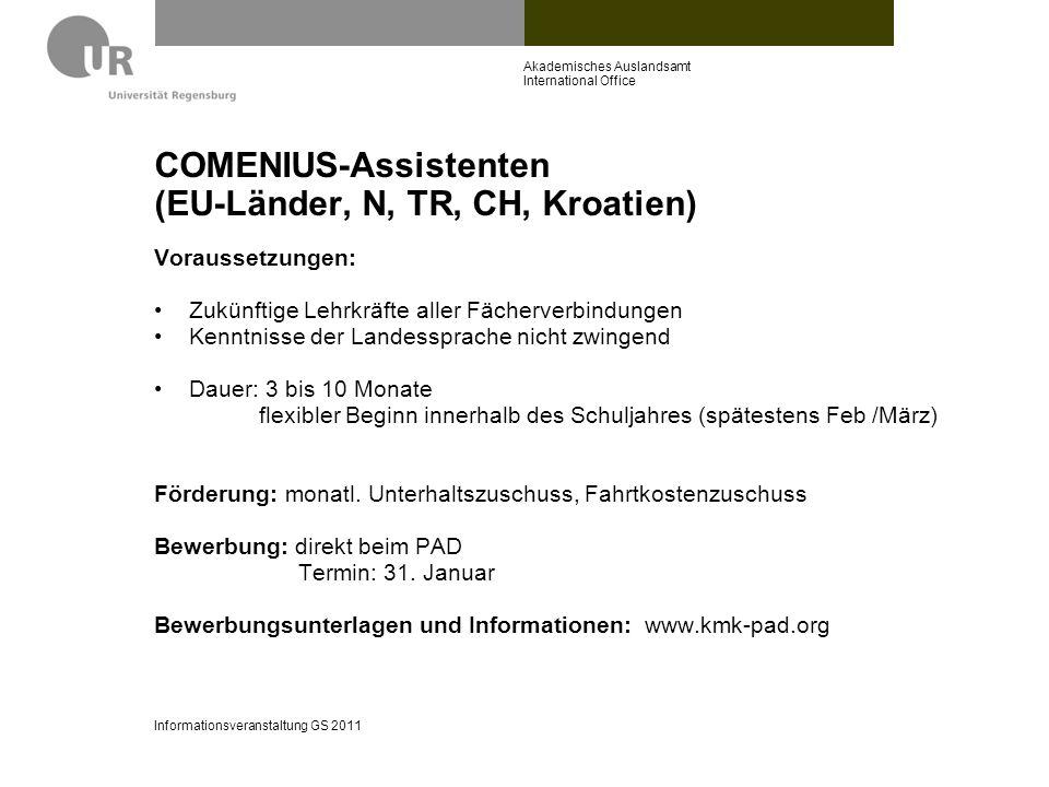 COMENIUS-Assistenten (EU-Länder, N, TR, CH, Kroatien)