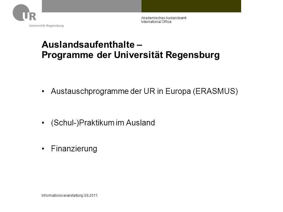 Auslandsaufenthalte – Programme der Universität Regensburg