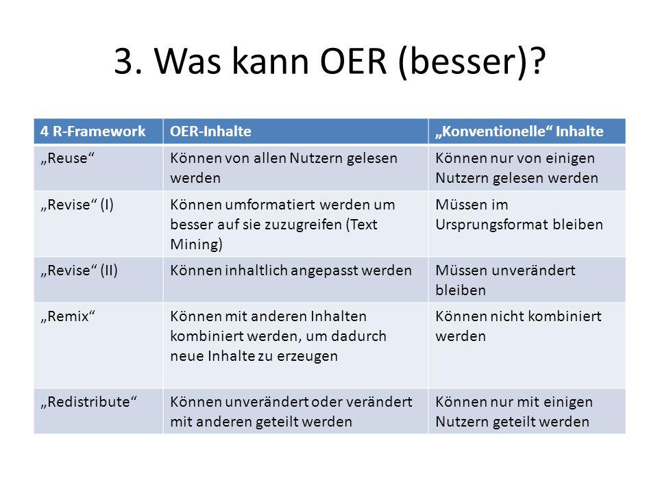 3. Was kann OER (besser) 4 R-Framework OER-Inhalte