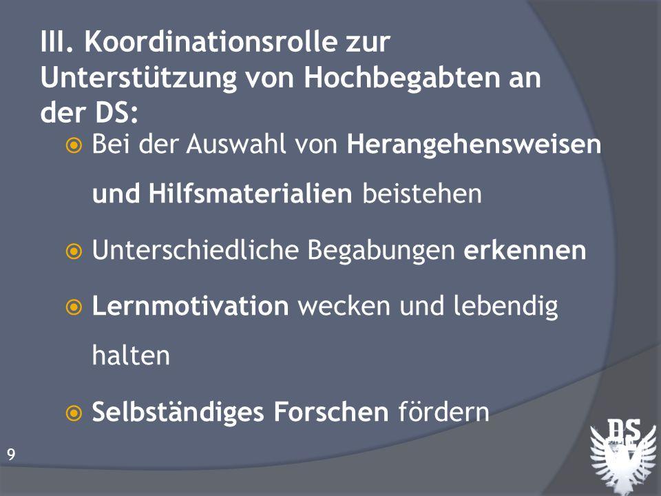 III. Koordinationsrolle zur Unterstützung von Hochbegabten an der DS:
