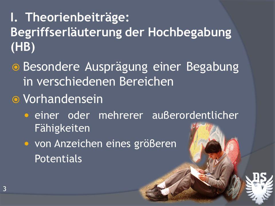 I. Theorienbeiträge: Begriffserläuterung der Hochbegabung (HB)