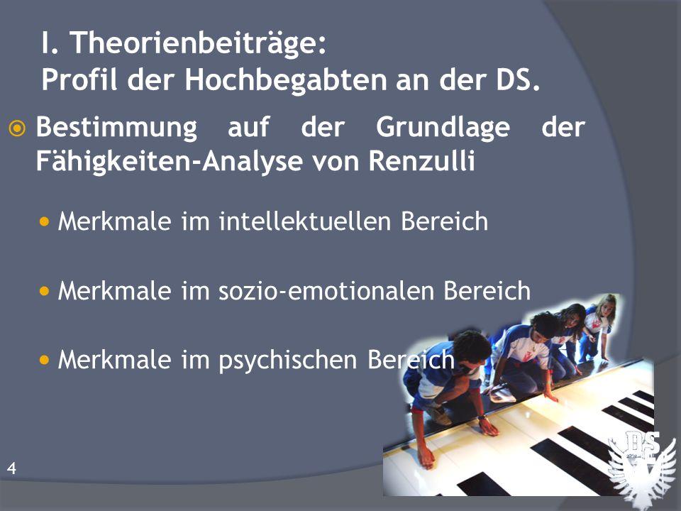I. Theorienbeiträge: Profil der Hochbegabten an der DS.