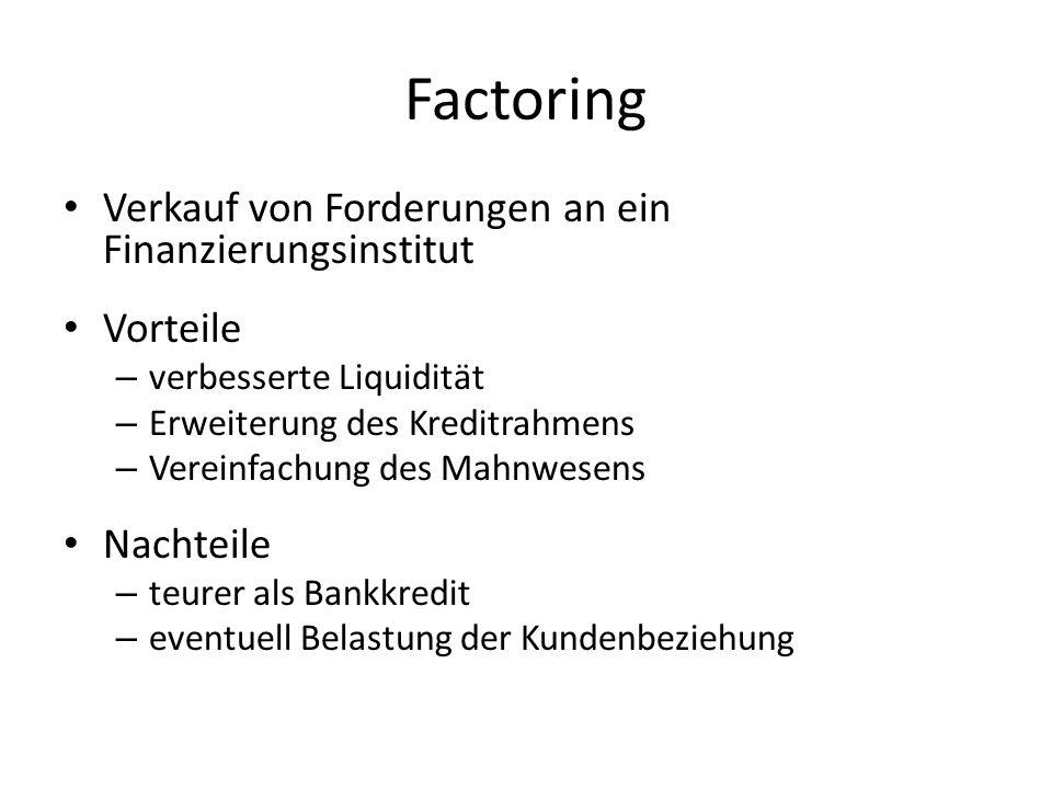 Factoring Verkauf von Forderungen an ein Finanzierungsinstitut