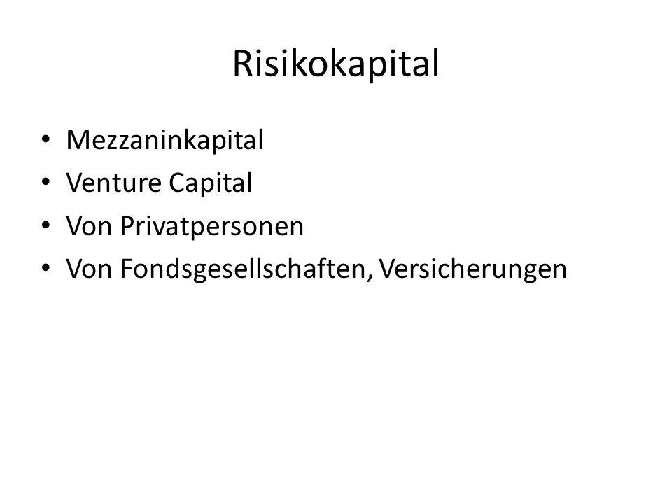 Risikokapital Mezzaninkapital Venture Capital Von Privatpersonen