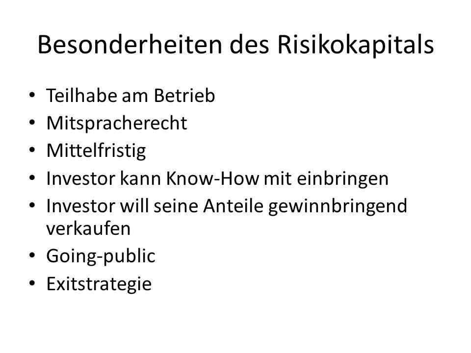 Besonderheiten des Risikokapitals
