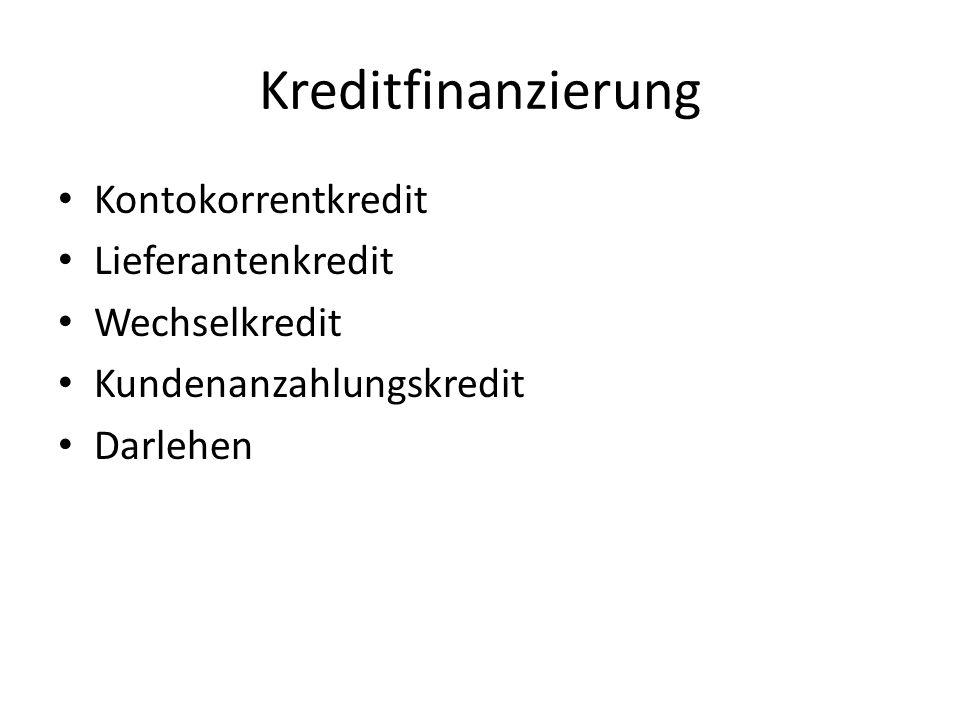 Kreditfinanzierung Kontokorrentkredit Lieferantenkredit Wechselkredit
