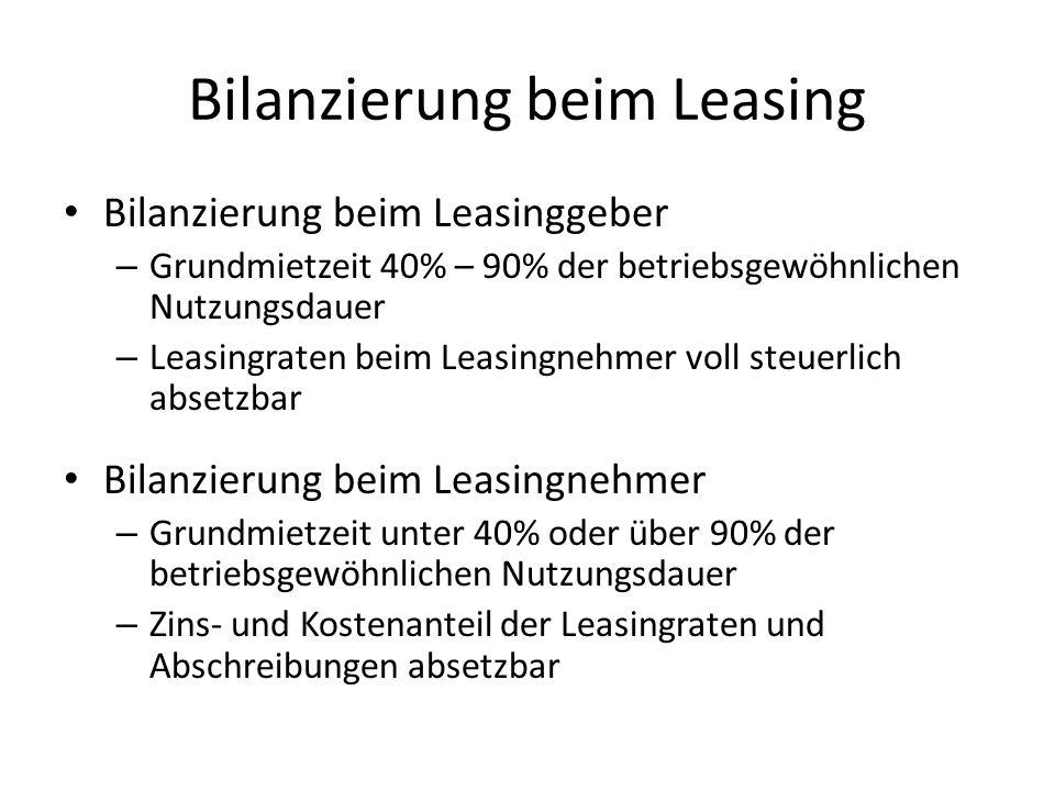 Bilanzierung beim Leasing