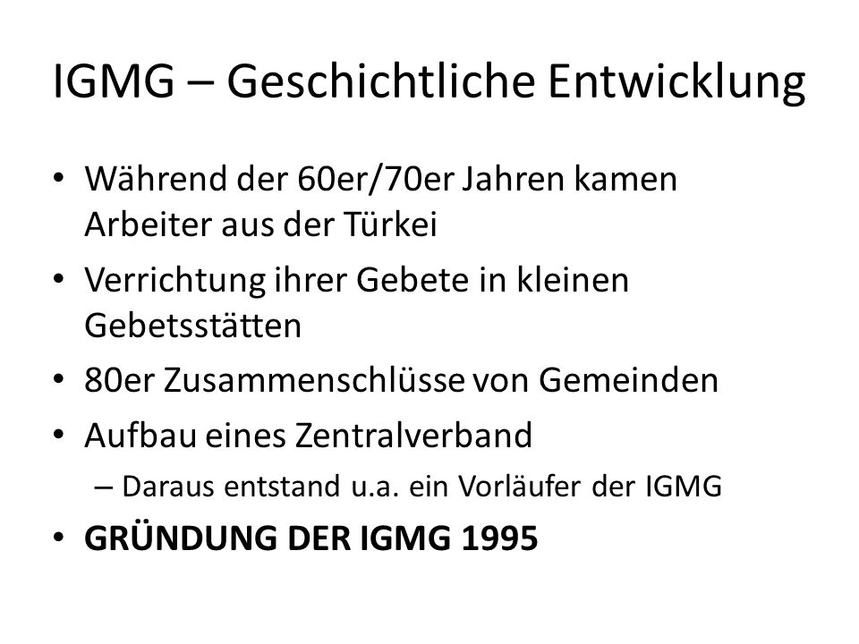 IGMG – Geschichtliche Entwicklung