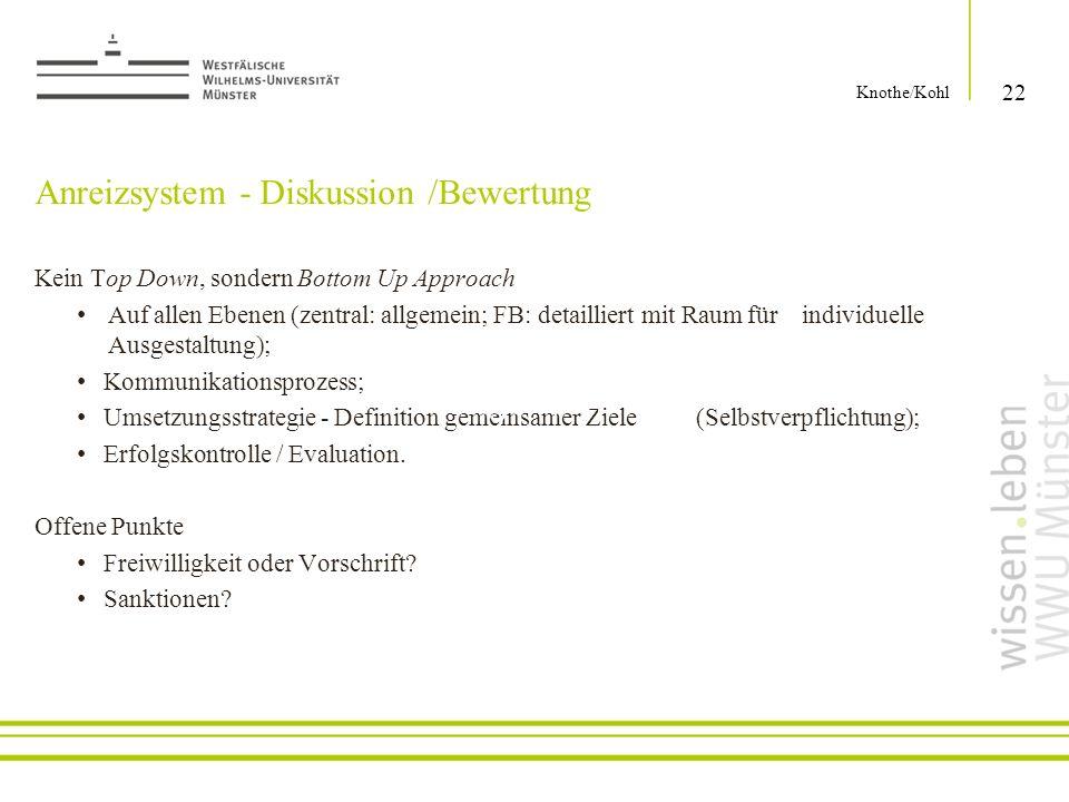 Anreizsystem - Diskussion /Bewertung