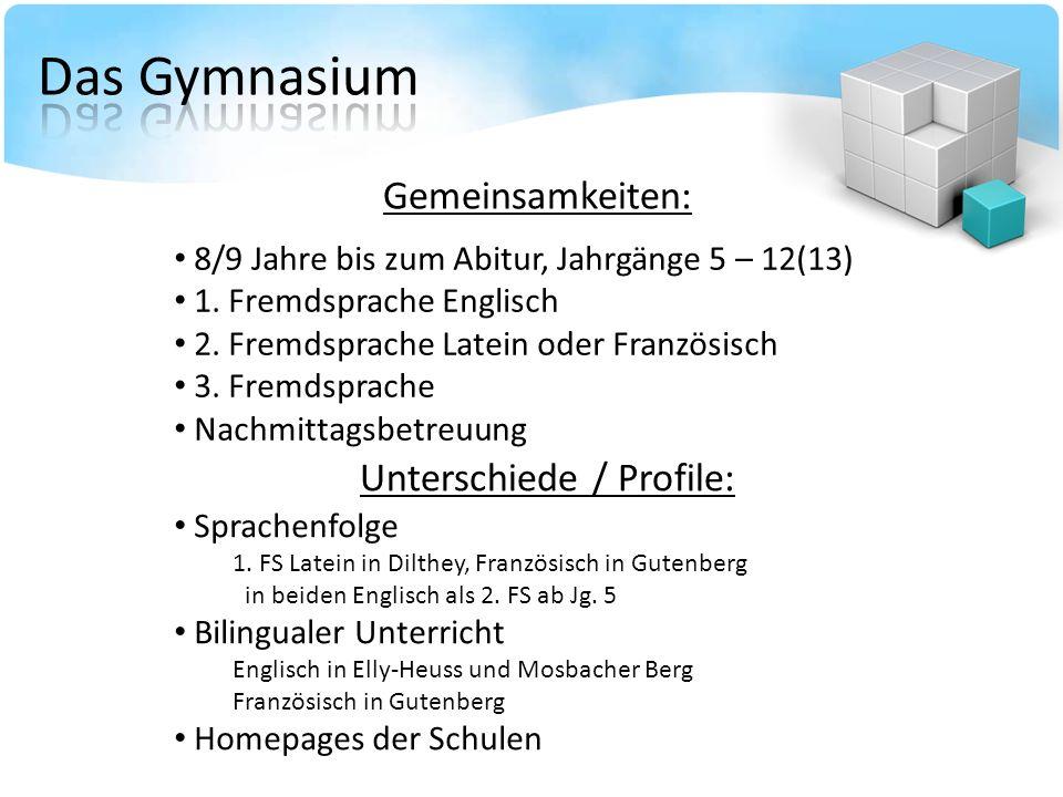 Das Gymnasium Gemeinsamkeiten: Unterschiede / Profile: