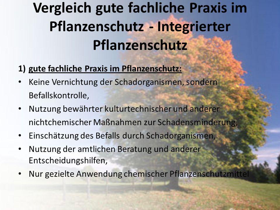 Vergleich gute fachliche Praxis im Pflanzenschutz - Integrierter Pflanzenschutz