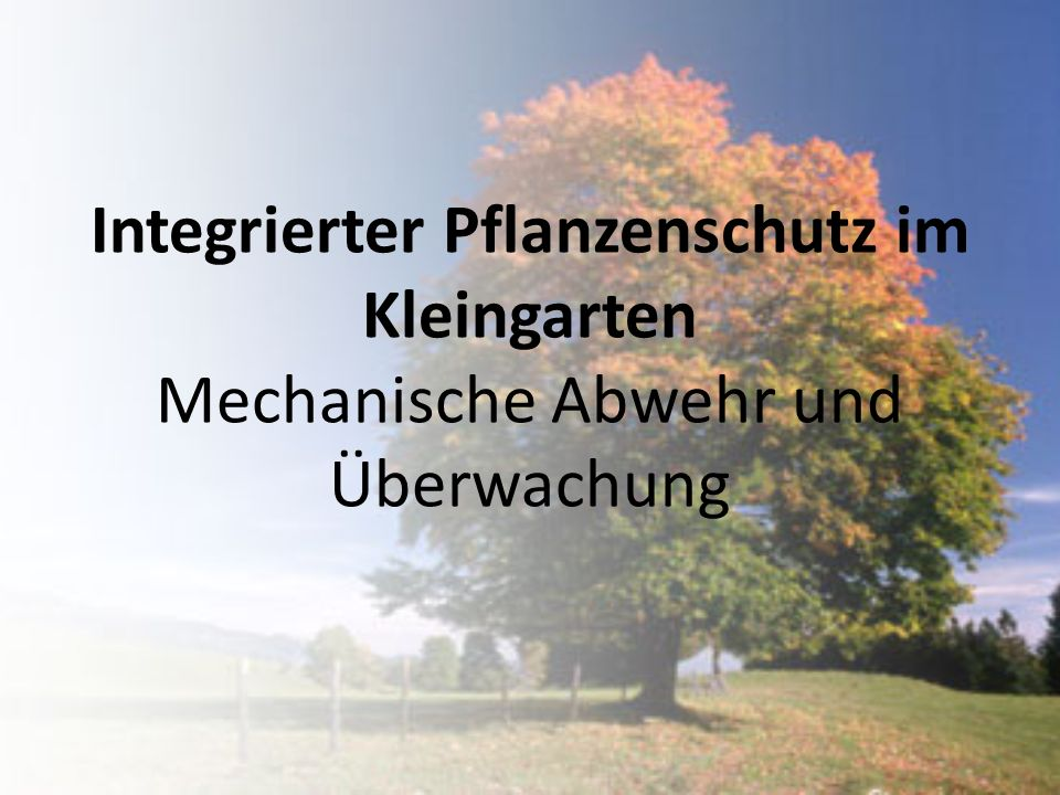 Integrierter Pflanzenschutz im Kleingarten Mechanische Abwehr und Überwachung