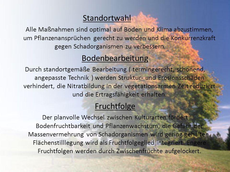 Standortwahl Bodenbearbeitung Fruchtfolge