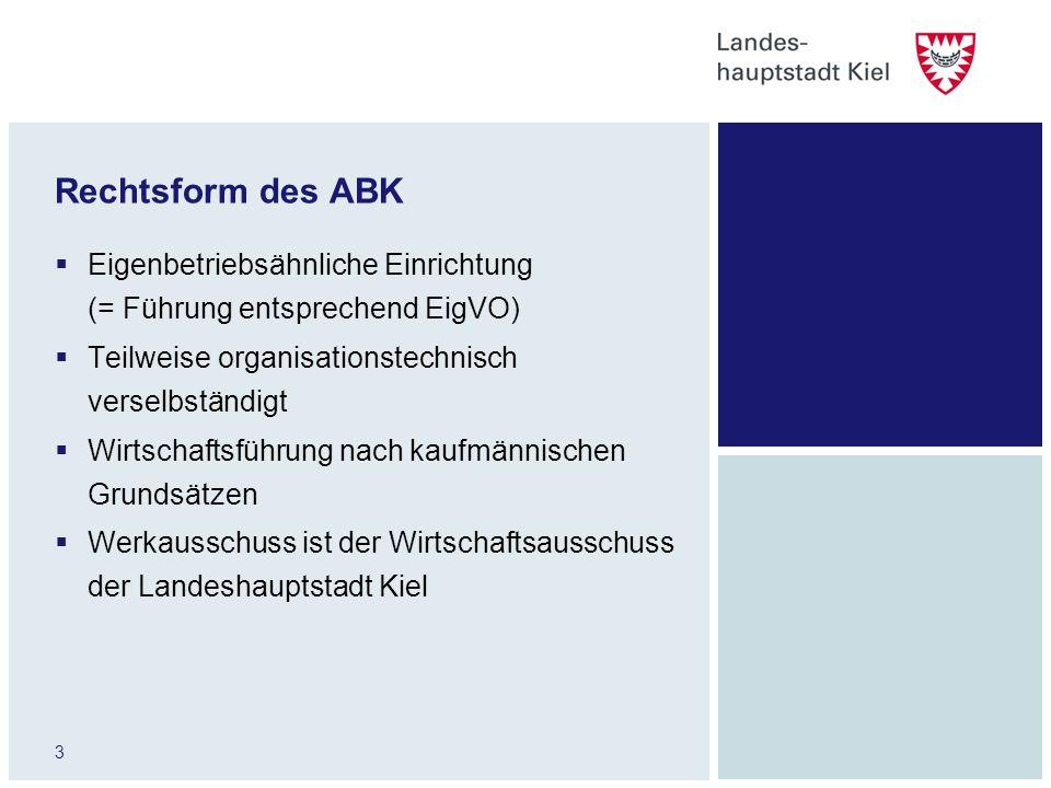 Rechtsform des ABK Eigenbetriebsähnliche Einrichtung (= Führung entsprechend EigVO) Teilweise organisationstechnisch verselbständigt.