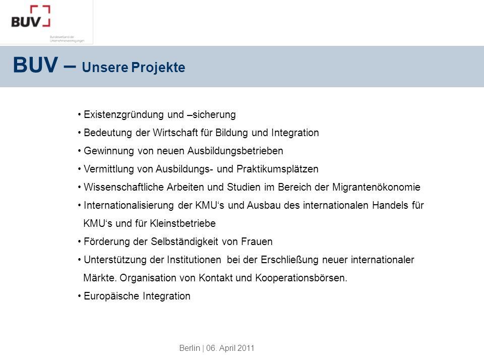 BUV – Unsere Projekte Existenzgründung und –sicherung