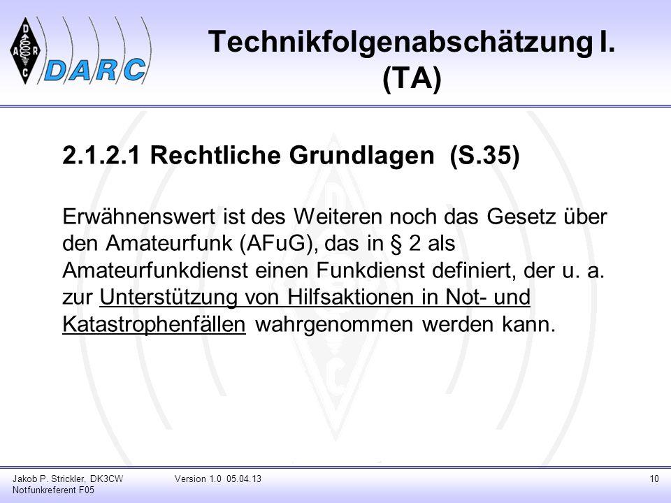 Technikfolgenabschätzung I. (TA)