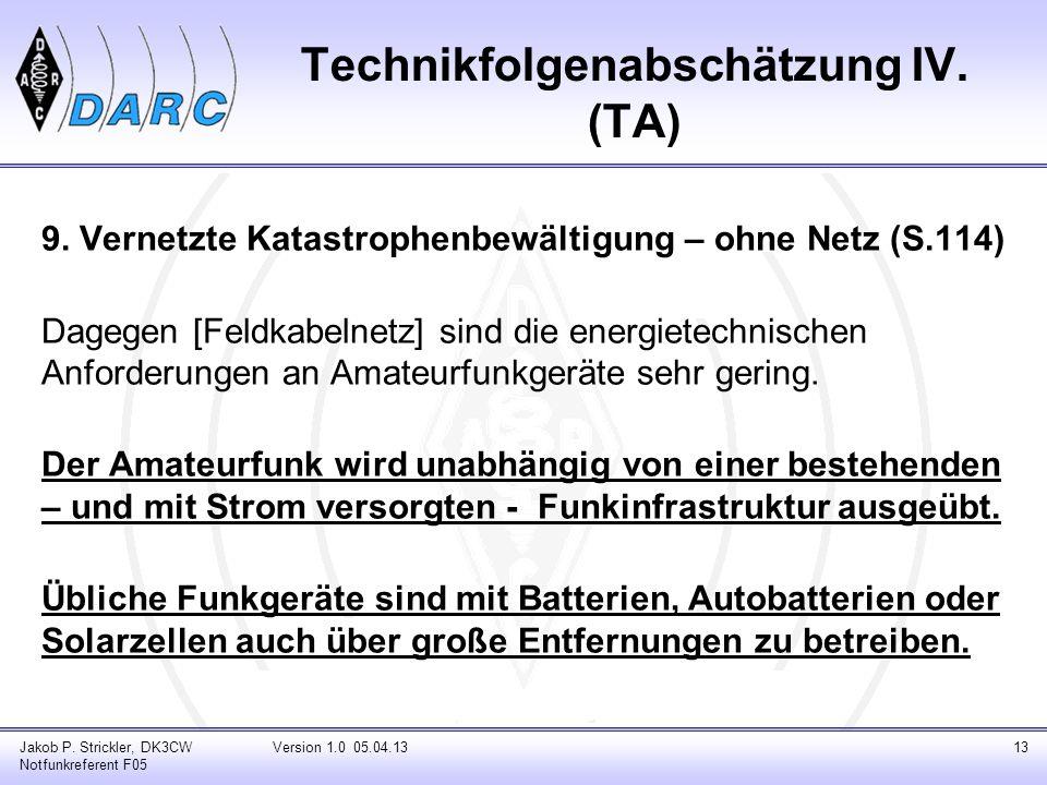 Technikfolgenabschätzung IV. (TA)