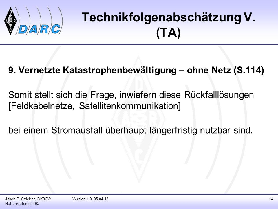 Technikfolgenabschätzung V. (TA)