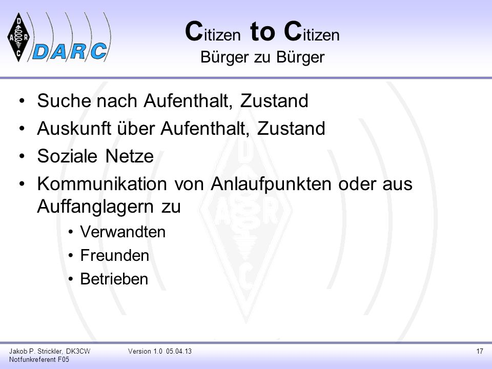Citizen to Citizen Bürger zu Bürger