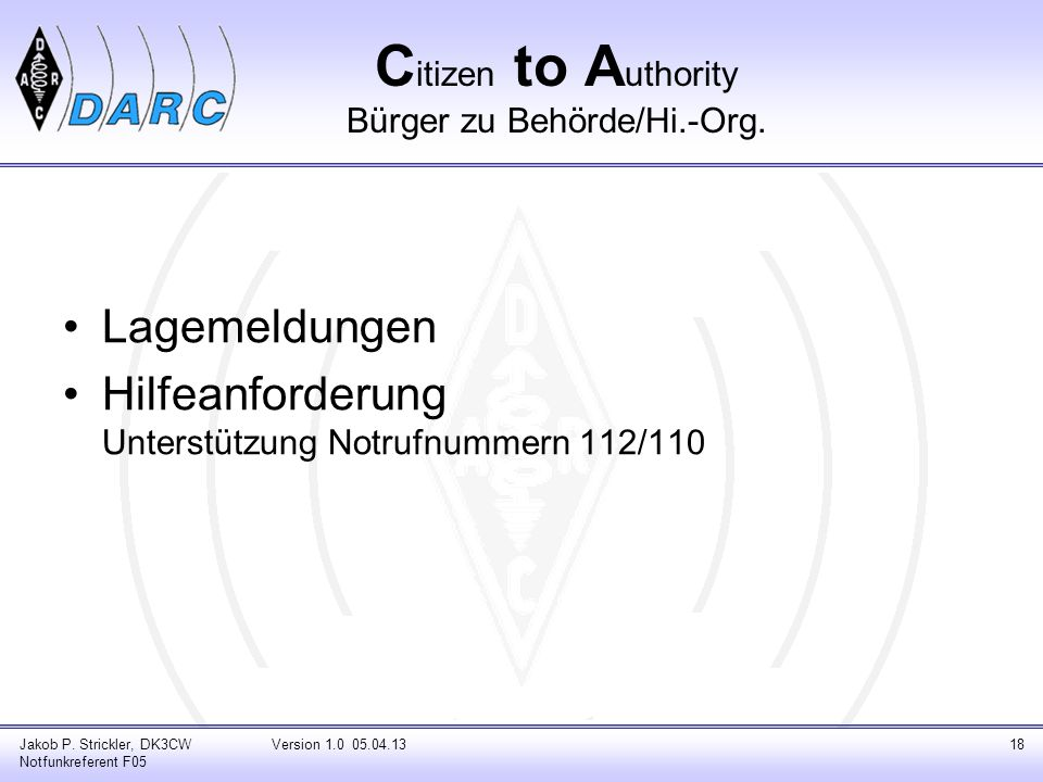 Citizen to Authority Bürger zu Behörde/Hi.-Org.