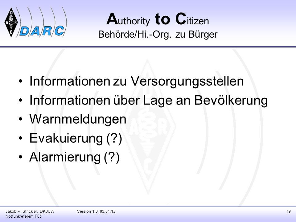 Authority to Citizen Behörde/Hi.-Org. zu Bürger