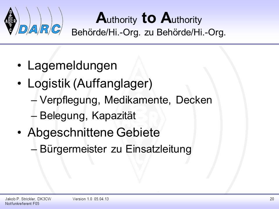 Authority to Authority Behörde/Hi.-Org. zu Behörde/Hi.-Org.