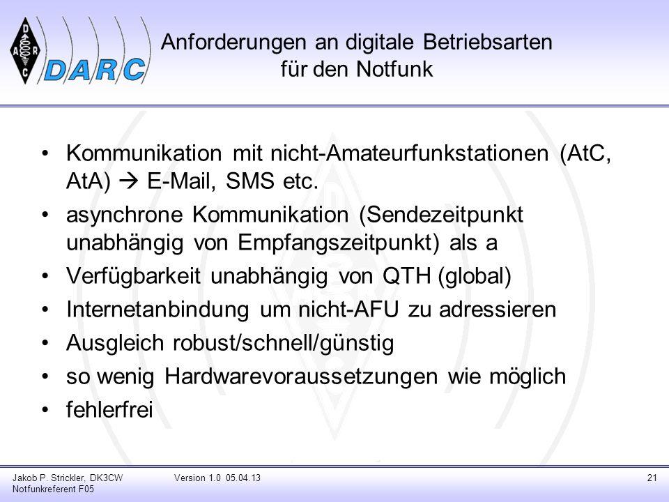 Anforderungen an digitale Betriebsarten für den Notfunk