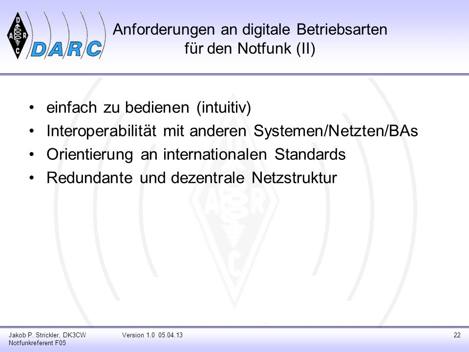 Anforderungen an digitale Betriebsarten für den Notfunk (II)