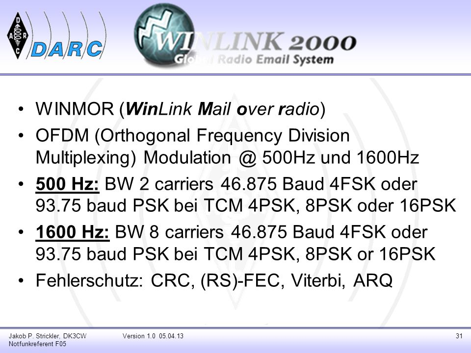 WINMOR (WinLink Mail over radio)