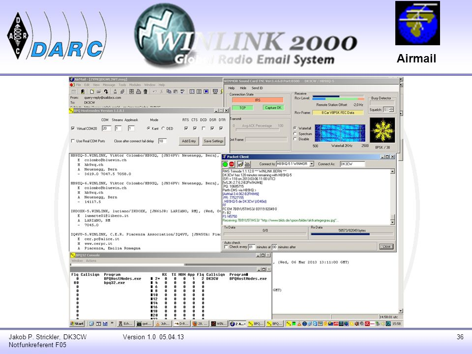 Airmail Jakob P. Strickler, DK3CW Notfunkreferent F05