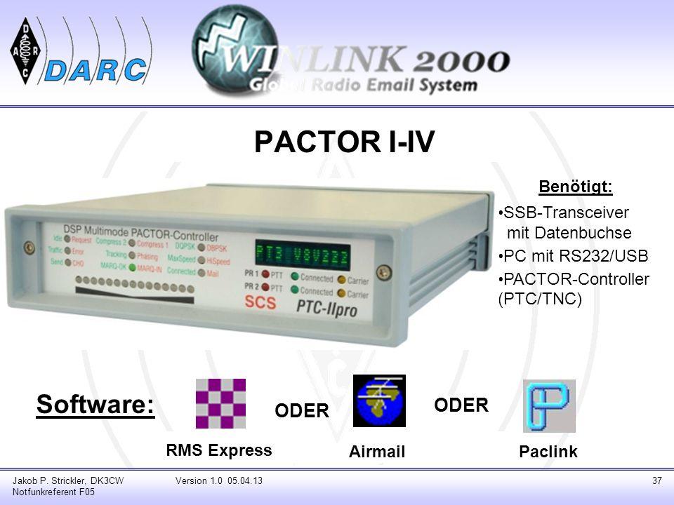 PACTOR I-IV Software: ODER ODER Benötigt: