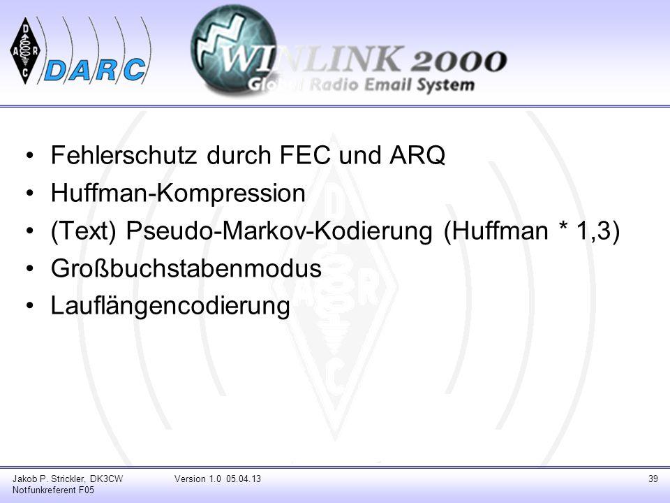 Fehlerschutz durch FEC und ARQ Huffman-Kompression