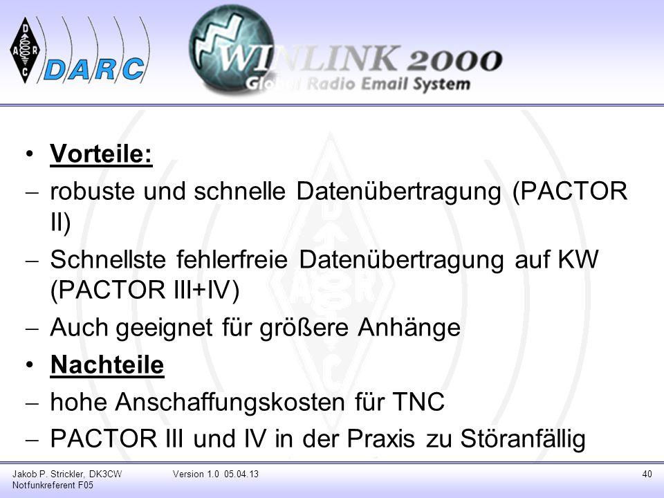 robuste und schnelle Datenübertragung (PACTOR II)