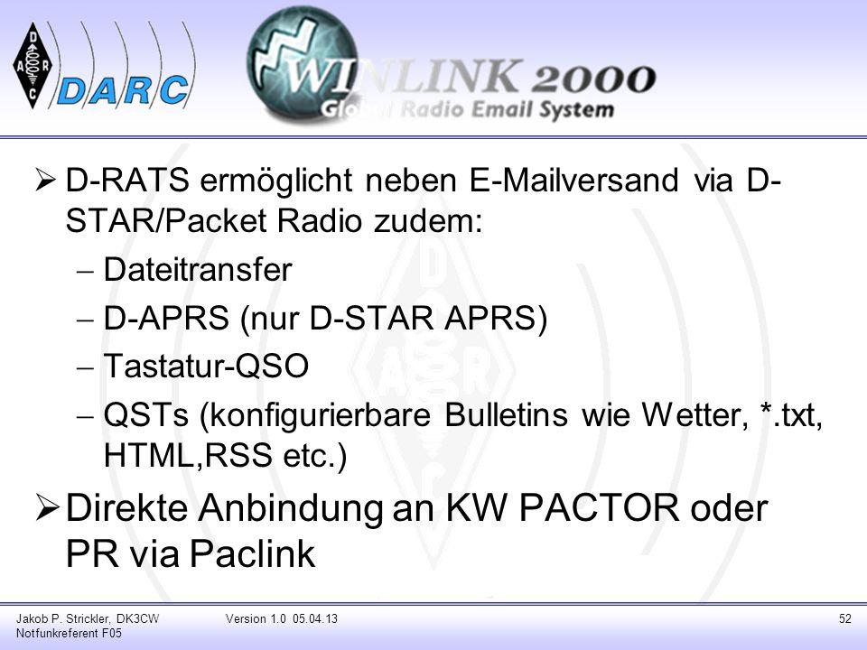 Direkte Anbindung an KW PACTOR oder PR via Paclink