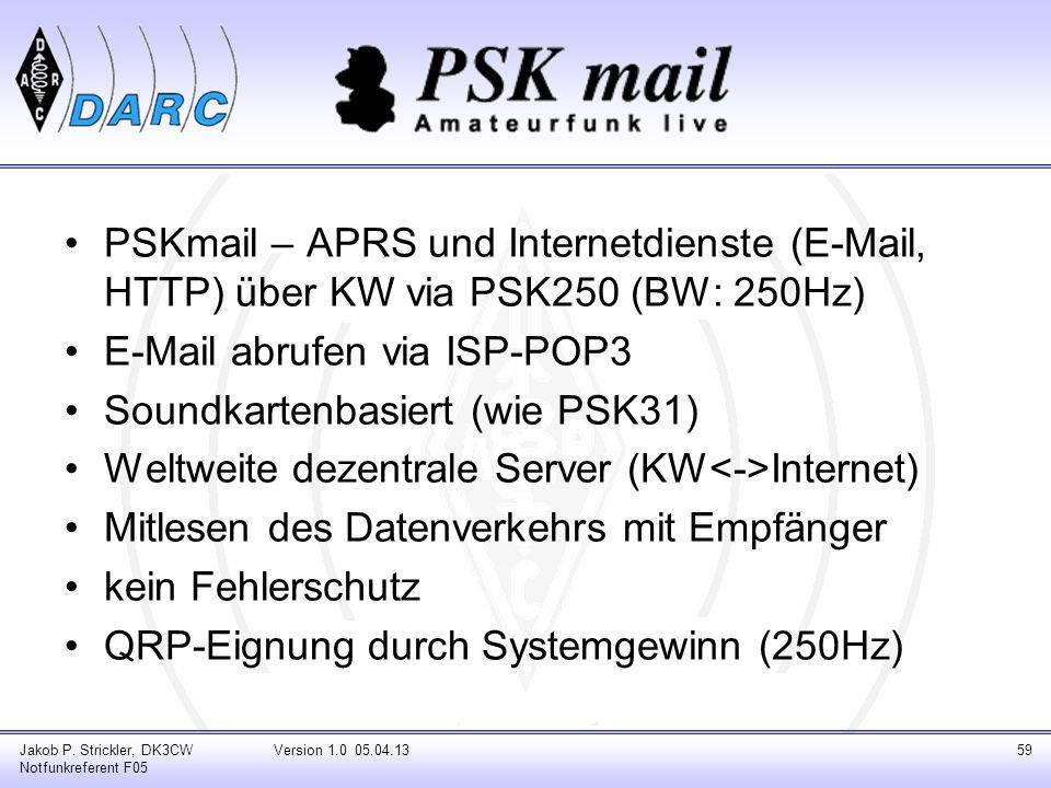 E-Mail abrufen via ISP-POP3 Soundkartenbasiert (wie PSK31)