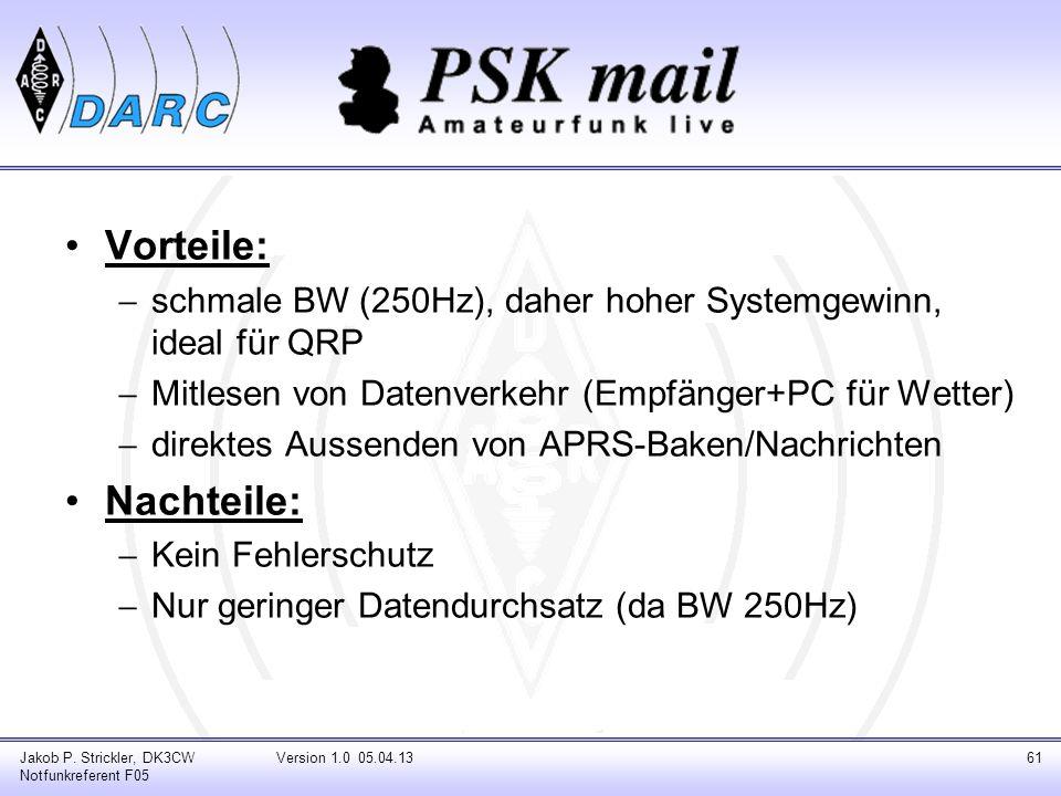 Vorteile: schmale BW (250Hz), daher hoher Systemgewinn, ideal für QRP. Mitlesen von Datenverkehr (Empfänger+PC für Wetter)