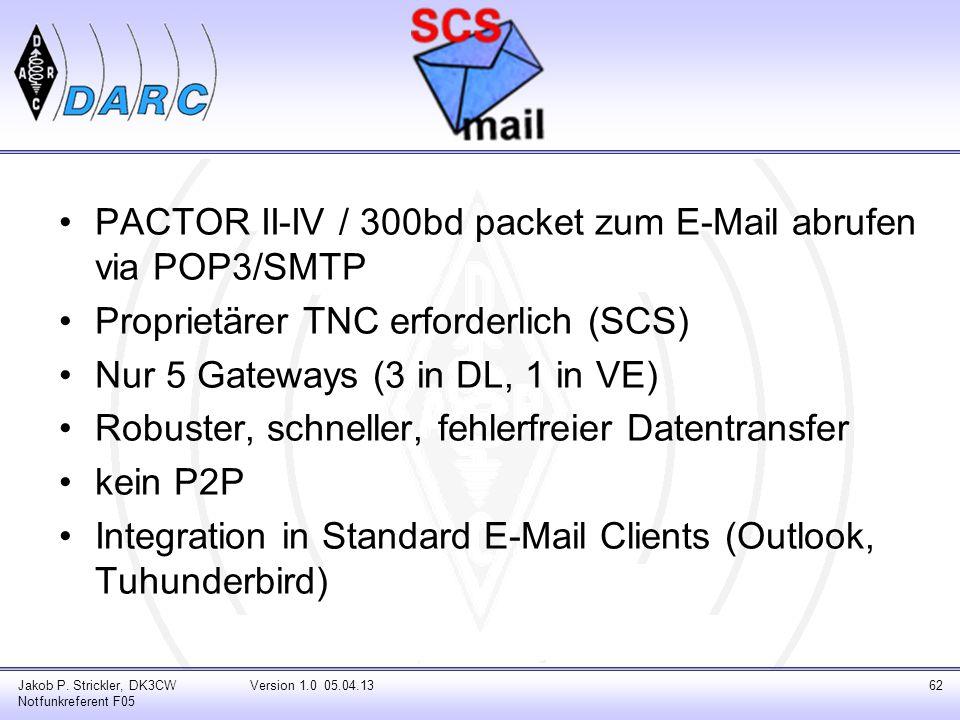 PACTOR II-IV / 300bd packet zum E-Mail abrufen via POP3/SMTP