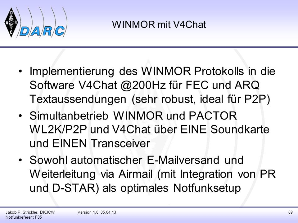 WINMOR mit V4ChatImplementierung des WINMOR Protokolls in die Software V4Chat @200Hz für FEC und ARQ Textaussendungen (sehr robust, ideal für P2P)
