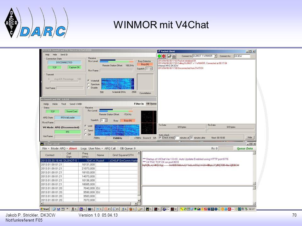 WINMOR mit V4Chat Jakob P. Strickler, DK3CW Notfunkreferent F05