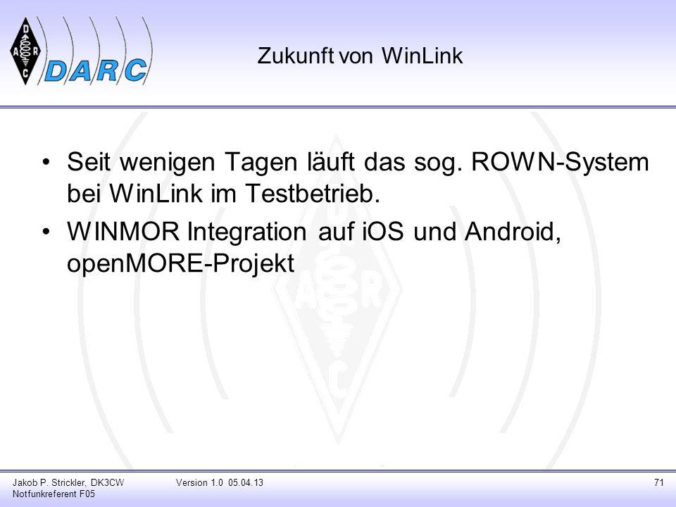 WINMOR Integration auf iOS und Android, openMORE-Projekt