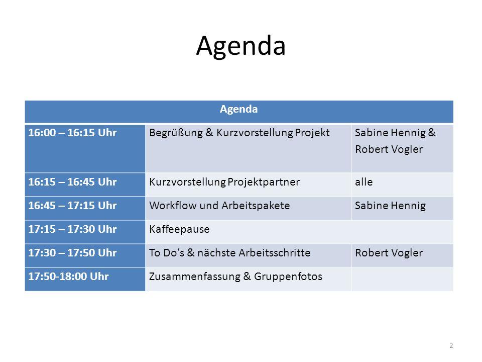 Agenda Agenda 16:00 – 16:15 Uhr Begrüßung & Kurzvorstellung Projekt