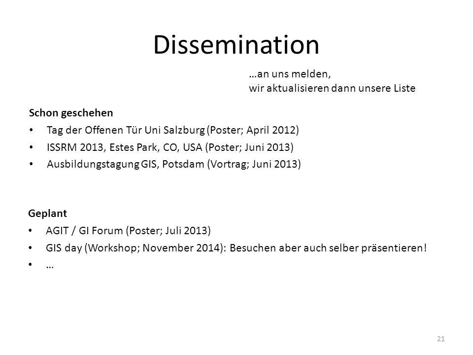 Dissemination …an uns melden, wir aktualisieren dann unsere Liste