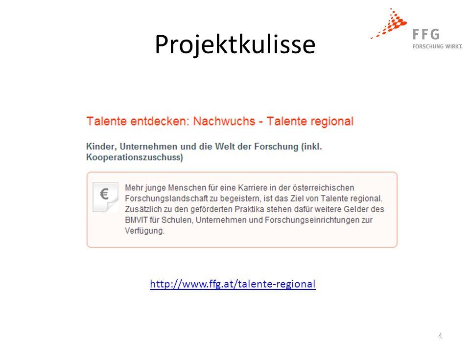 Projektkulisse http://www.ffg.at/talente-regional