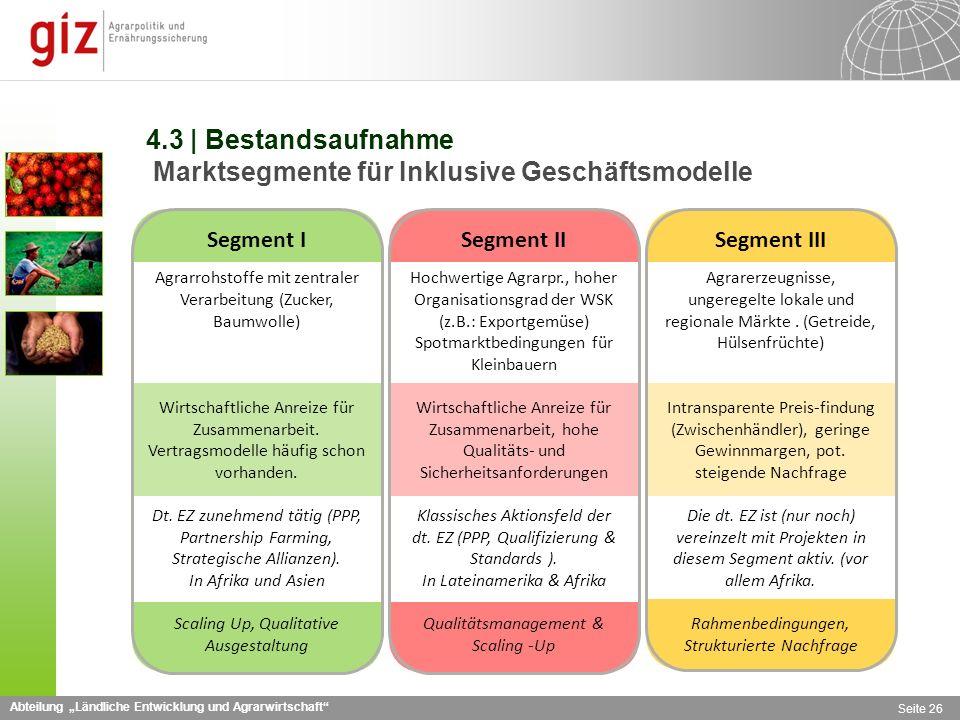 4.3 | Bestandsaufnahme Marktsegmente für Inklusive Geschäftsmodelle