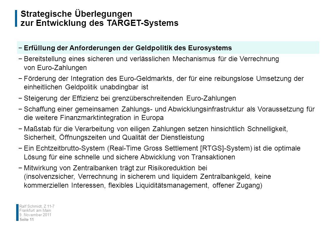 Strategische Überlegungen zur Entwicklung des TARGET-Systems