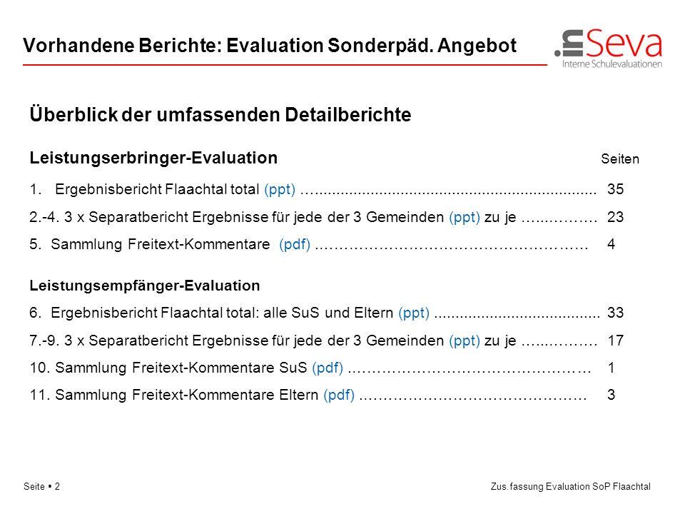 Vorhandene Berichte: Evaluation Sonderpäd. Angebot