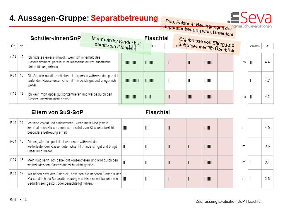4. Aussagen-Gruppe: Separatbetreuung